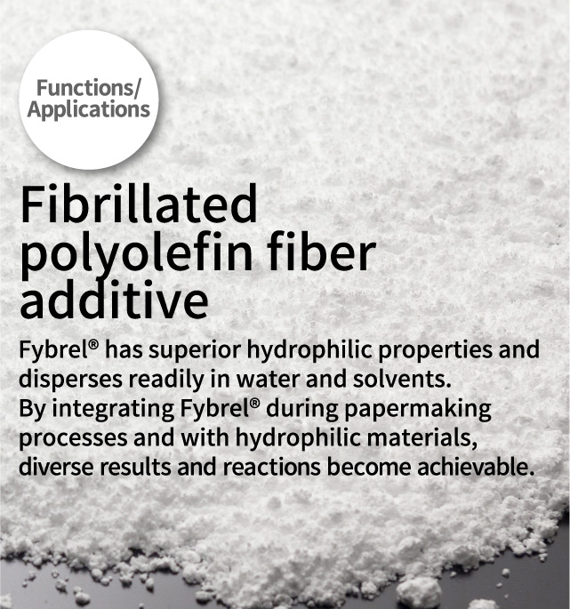 Fibrillated polyolefin fiber additive Fybrel® has superior hydrophilic properties and disperses readily in water and solvents. By integrating Fybrel® during papermaking processes and with hydrophilic materials, diverse results and reactions become achievable.